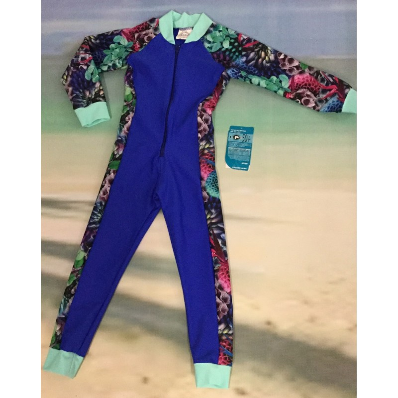 Children Stinger Suit - Royal Body / Hyper Sleeves & Sides / Mint Trim