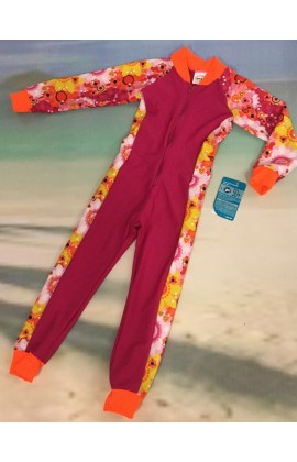 Baby Stinger Suit - Fuchsia Body / Daisy Sleeves / Orange Trim