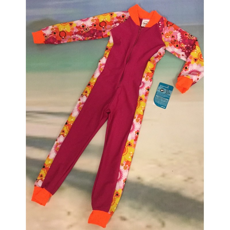 Baby Stinger Suit - Fuchsia Body / Daisy Sleeves / Orange Trim