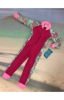 Baby Stinger Suit - Fuchsia Body / Paisley Sleeves & Sides / Holly Trim