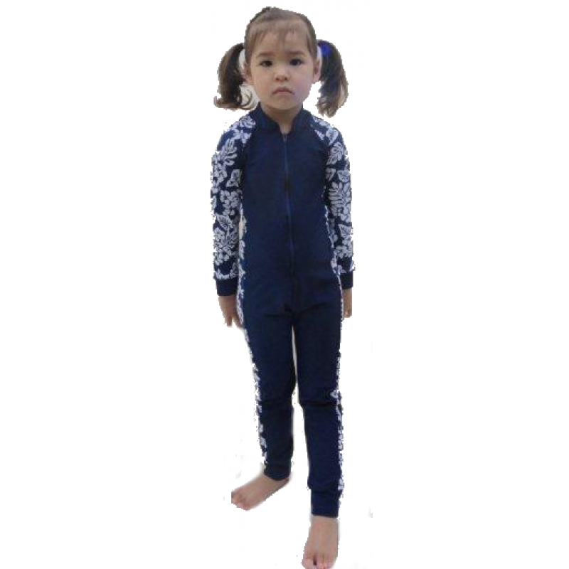 Baby Stinger Suit - Navy Body / Hibiscus Sleeves & Sides / Navy Trim