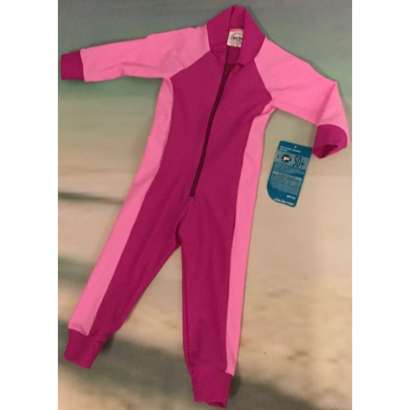 Children Stinger Suit - Fuschia Body / Holly Sleeves & Sides / Fuschia Trim
