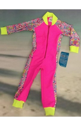 Baby Stinger Suit - Pink Body / Butterfly Sleeves & Sides / Sunshine Trim