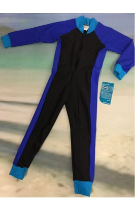 Children Stinger Suit - Black Body / Royal Sleeves & Sides / Turquoise Trim