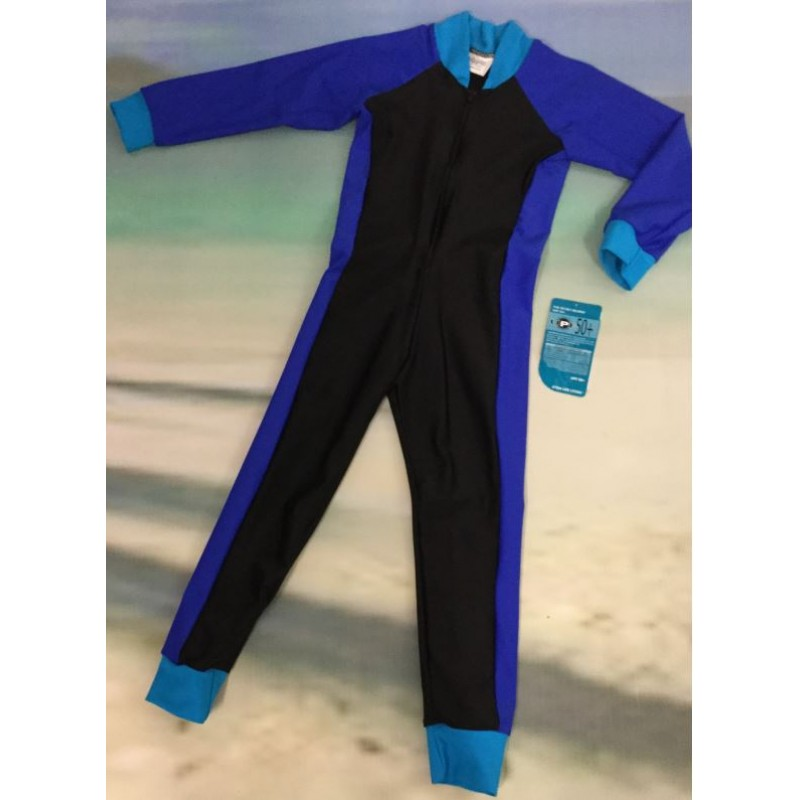 Adult Stinger Suit - Black Body / Royal Sleeves / Turquoise Trim