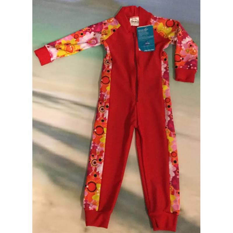 Baby Stinger Suit - Red Body / Daisy Sleeves / Red Trim