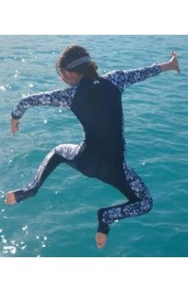 Children Stinger Suit - Navy Body / Hibiscus Sleeves & Sides / Navy Trim
